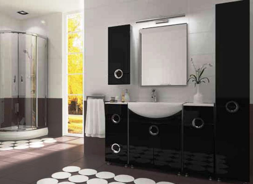 Koupelnový nábytek Ariel černý, Ariel černý sestava bez zrcadla a umyvadla
