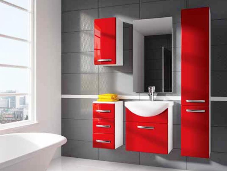 Koupelnový nábytek Koral červený, Koral červený sestava bez umyvadla a zrcadla