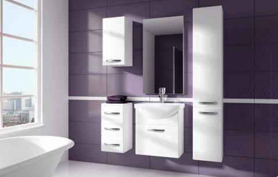 Koupelnový nábytek Koral bílý, Koral bílý celá sestava bez umyvadla a zrcadla