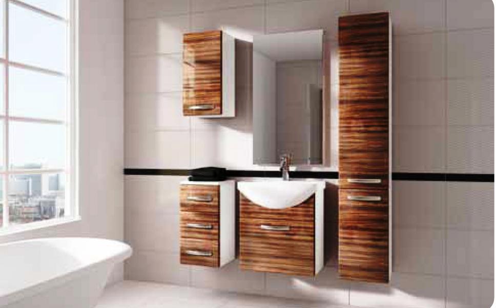 Koupelnový nábytek Koral zebrano, Koral zebrano sestava bez umyvadla a zrcadla