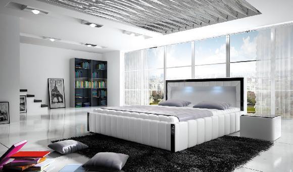 Ložnice Forio 140x200, manželská postel 140x200 s LED osvětlením