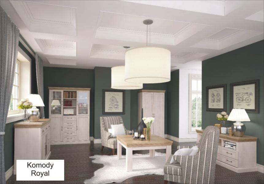 Obývací pokoj Royal sosna nordická s dubem dziki, Komody - ukázka stolek od