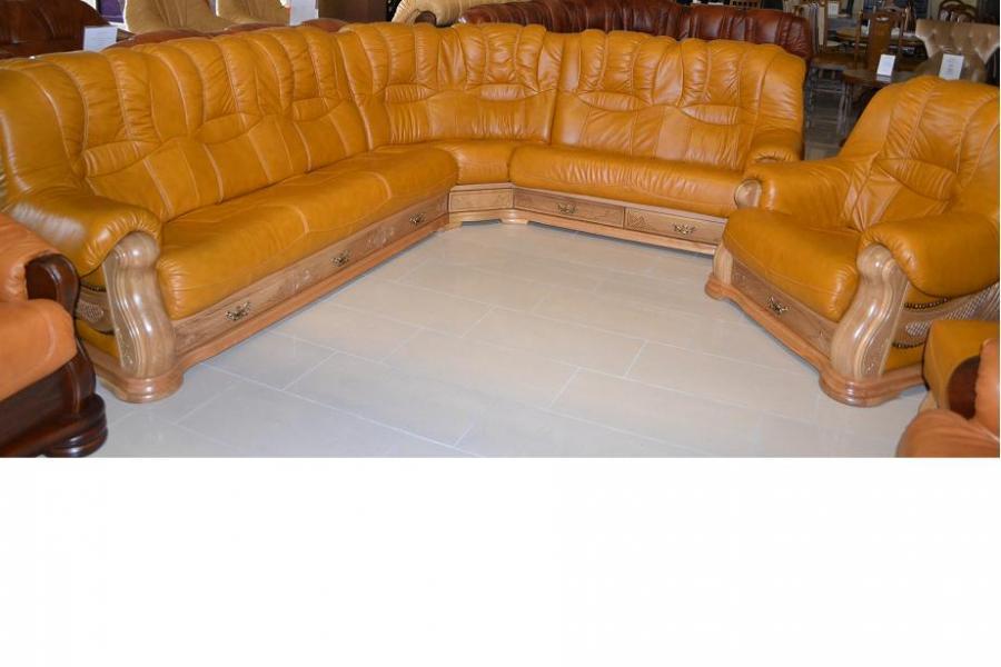 Kožená sedací souprava Cheverny rohová, Cheverny rohová 3x2 - pravá kůže