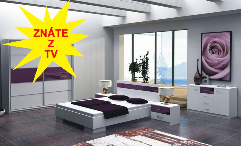 Ložnice Dubaj ložnice akce komoda zdarma, ložnice komplet bílá/sklo fialka