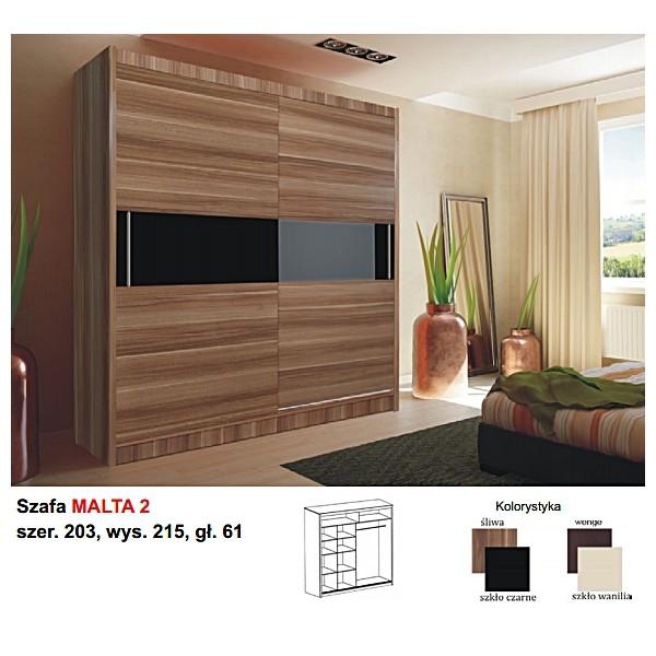 Ložnice Malta 2, vlašský ořech/černé sklo