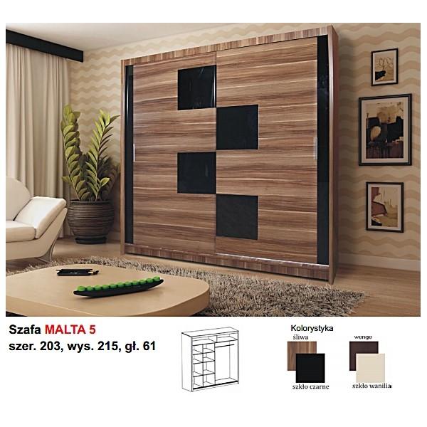 Ložnice Malta 5, vlašský ořech/černé sklo