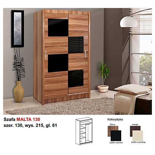 Ložnice Malta 130, vlašský ořech/černé sklo