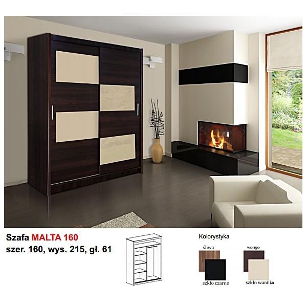 Ložnice Malta 160, vlašský ořech/černé sklo